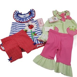 NWT (2) NANNETTE SUMMER OUTFITS SIZE 12 MONTHS